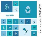 celebration easter icons.... | Shutterstock .eps vector #622866095