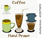 coffee hand drawn on separate... | Shutterstock .eps vector #622875692
