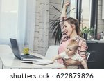 family mother works with a... | Shutterstock . vector #622879826