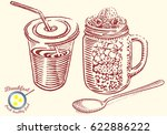 hand drawn breakfast... | Shutterstock .eps vector #622886222