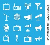 broadcast icons set. set of 16... | Shutterstock .eps vector #622896536