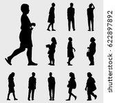 black walk silhouettes vector... | Shutterstock .eps vector #622897892