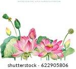 pink lotus border. watercolor... | Shutterstock . vector #622905806
