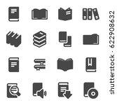 vector black book icons set on... | Shutterstock .eps vector #622908632
