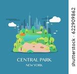 new york landmark central park. | Shutterstock .eps vector #622909862
