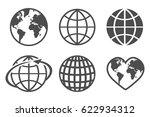 globe earth vector icons set ... | Shutterstock .eps vector #622934312