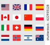 16 national flags set | Shutterstock .eps vector #622935128