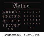 vintage gothic font   grey font ... | Shutterstock .eps vector #622938446
