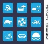 swim icon. set of 9 filled swim ... | Shutterstock .eps vector #622939262