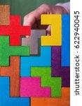 hand with wooden toy blocks.... | Shutterstock . vector #622940045