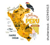 Stock vector illustrated map of peru vector illustration with all main tourist attraction of the country 622945415