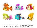 funny cartoon colorful fishes... | Shutterstock .eps vector #622956395