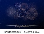 firework show on night sky... | Shutterstock . vector #622961162