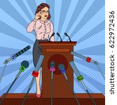pop art business woman on mass... | Shutterstock .eps vector #622972436
