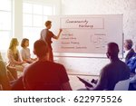 group of people seminar about... | Shutterstock . vector #622975526