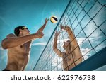 beach volleyball players in... | Shutterstock . vector #622976738