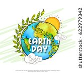 happy earth day poster or... | Shutterstock .eps vector #622979342