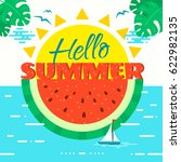 hello summer concept vector...   Shutterstock .eps vector #622982135