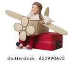 kid travel on toy airplane ... | Shutterstock . vector #622990622