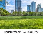 the grass and the city in... | Shutterstock . vector #623001692