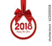 happy new year 2018 round... | Shutterstock . vector #623008508