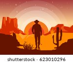 Wild West Landscape With Cowbo...