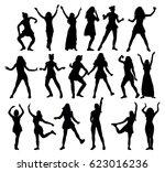 silhouette  girl dancing ... | Shutterstock .eps vector #623016236