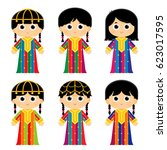 set of girls are wearing an old ... | Shutterstock .eps vector #623017595