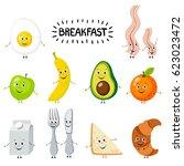 set of cartoon food  breakfast. ... | Shutterstock .eps vector #623023472