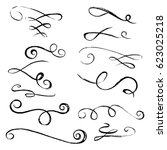 hand drawn elegant dividers and ... | Shutterstock .eps vector #623025218