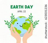 earth day cartoon card  earth... | Shutterstock .eps vector #623031236