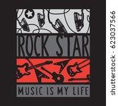 rock star music guitar... | Shutterstock .eps vector #623037566