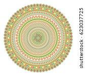 geometrical mandala. vintage... | Shutterstock .eps vector #623037725