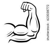 strong arm vector icon. sport ... | Shutterstock .eps vector #623038772