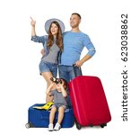 family travel suitcase  child... | Shutterstock . vector #623038862