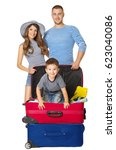 family travel suitcase  people... | Shutterstock . vector #623040086