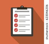 clipboard with checklist icon.... | Shutterstock .eps vector #623046206