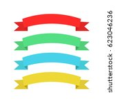 flat ribbons banners. ribbons... | Shutterstock .eps vector #623046236