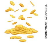 Falling Gold Coins. Money...