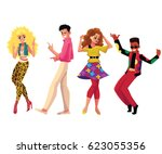 people in 1980s  eighties style ... | Shutterstock .eps vector #623055356