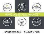 food logos set. organic gluten...