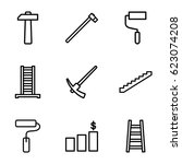 improvement icons set. set of 9 ... | Shutterstock .eps vector #623074208