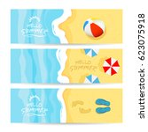 set of three summer cards with... | Shutterstock .eps vector #623075918