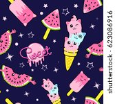 cute kids pattern for girls and ... | Shutterstock .eps vector #623086916