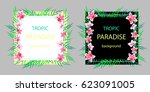 set of tropical card with pink... | Shutterstock .eps vector #623091005