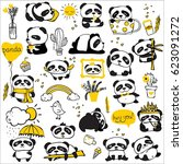 panda doodle kid set. simple... | Shutterstock .eps vector #623091272