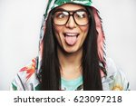 goofy young woman wearing... | Shutterstock . vector #623097218