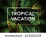 summer background with leaves ...   Shutterstock .eps vector #623102135