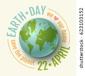 vector vintage poster for earth ... | Shutterstock .eps vector #623103152
