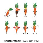 set of funny carrots doing... | Shutterstock .eps vector #623104442
